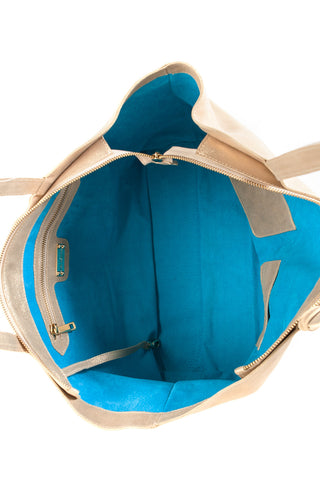 Mel Boteri | Kat Tote | Matte Gold Leather | Signature Turquoise Suede Lining