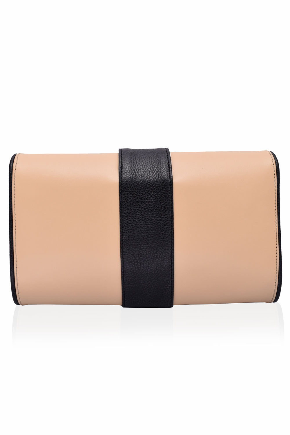 'Lauren' Camel & Black Leather Clutch and Shoulder Bag | Mel Boteri | Back View