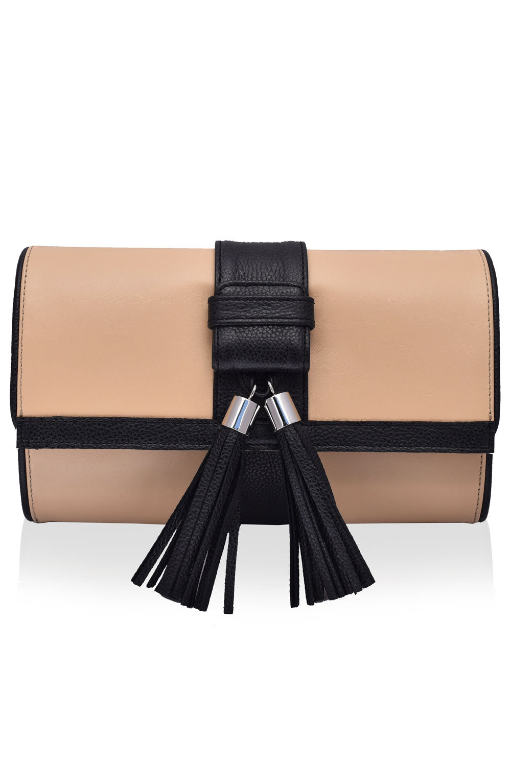 'Lauren' Camel & Black Leather Clutch and Shoulder Bag | Mel Boteri | Front View