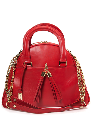 Red Smooth Leather 'Marissa' Small Tote Handbag | Mel Boteri | Front View With Detachable Straps