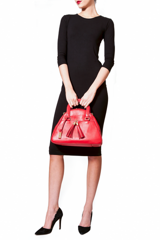 Red Smooth Leather 'Marissa' Small Tote Handbag | Mel Boteri | On Model