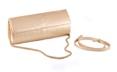 Matte Gold Python Leather 'Audrey' Cocktail Clutch | Mel Boteri | Straps View