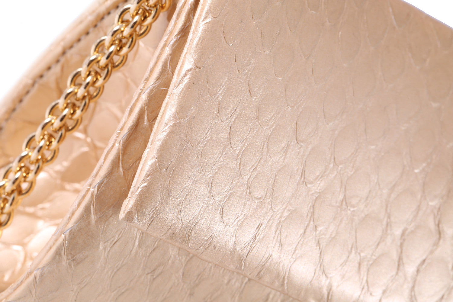 Matte Gold Python Leather 'Audrey' Cocktail Clutch | Mel Boteri | Detail View