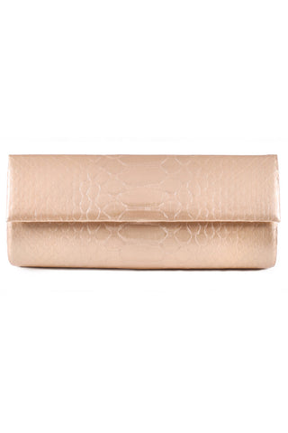 Matte Gold Python Leather 'Audrey' Cocktail Clutch | Mel Boteri | Front View