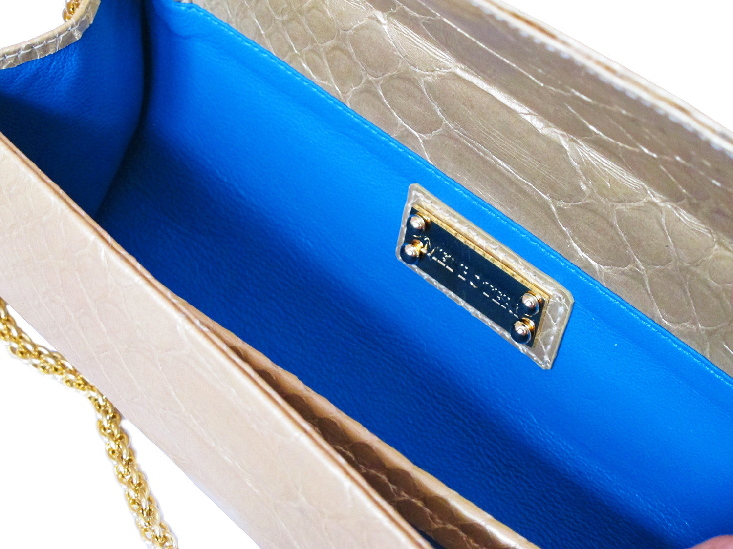 Matte Gold Python Leather 'Audrey' Cocktail Clutch | Mel Boteri | Interior View