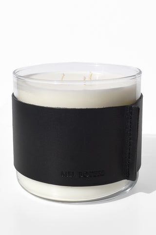 Oud & Bergamot Scented Candle | Mel Boteri Home Collection | Leather Wrapped Candle