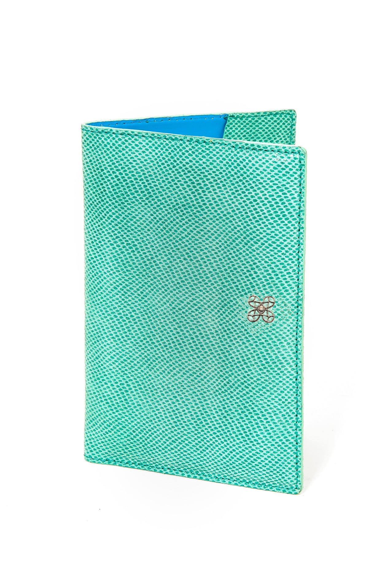 Mel Boteri | Jade Snake-Print Leather Passport Cover | Front