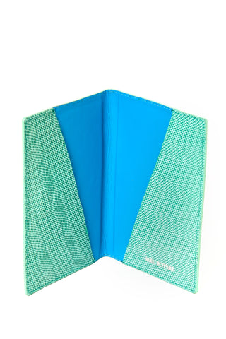 Mel Boteri | Jade Snake-Print Leather Passport Cover | Signature Turquoise Lining Interior