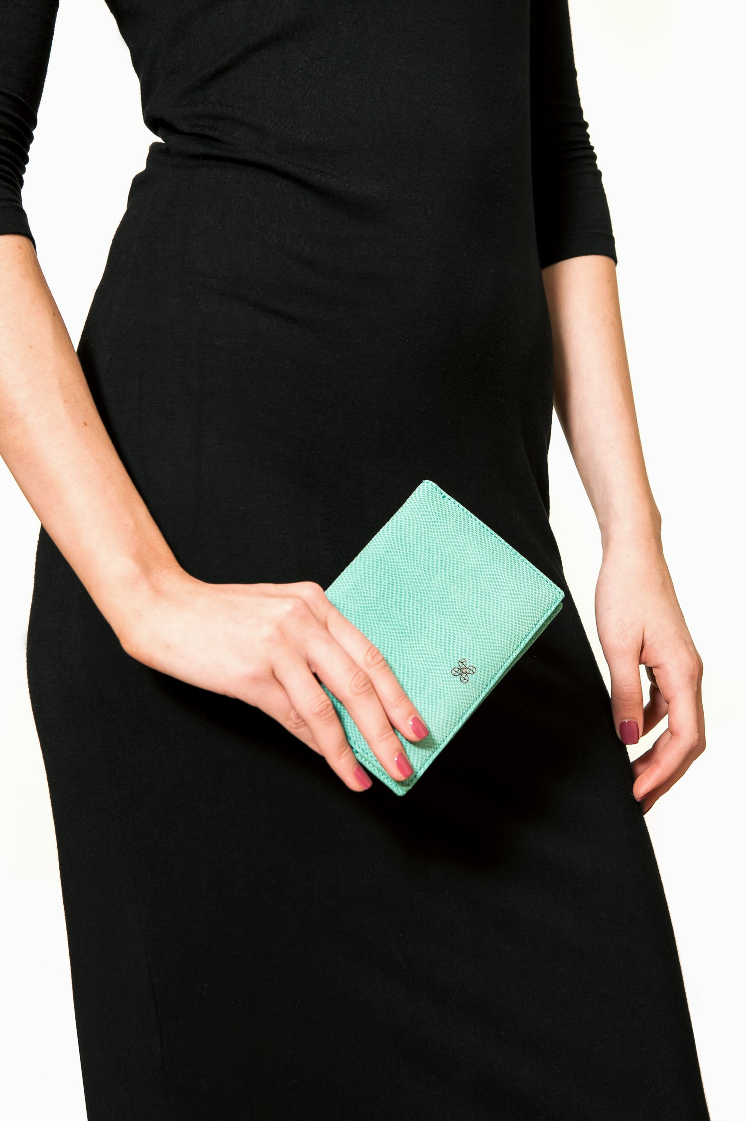 Mel Boteri | Jade Snake-Print Leather Passport Cover | Model