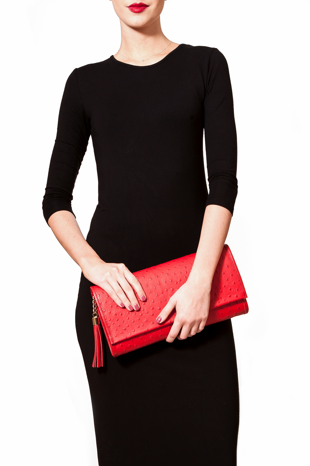 'Cara' Envelope Clutch in Red Ostrich Print Leather | Mel Boteri | Clutch On Model
