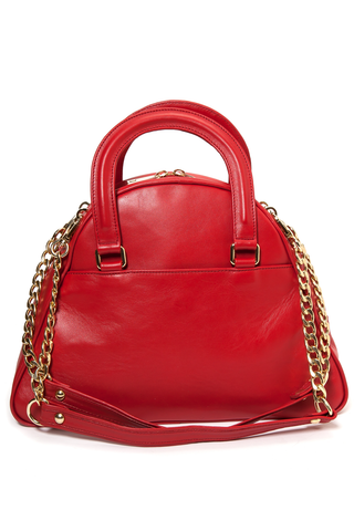 Red Smooth Leather 'Marissa' Small Tote Handbag | Mel Boteri | Back View
