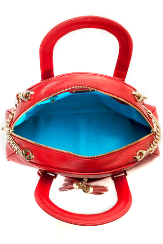 Red Smooth Leather 'Marissa' Small Tote Handbag | Mel Boteri | Signature Turquoise Interior