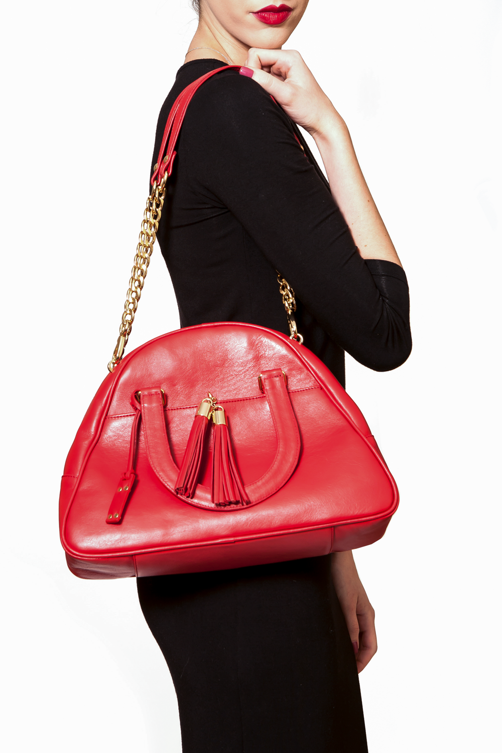 Red Smooth Leather 'Marissa' Small Tote Handbag | Mel Boteri | On Model With Shoulder Straps