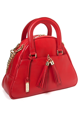 Red Smooth Leather 'Marissa' Small Tote Handbag | Mel Boteri | Side View