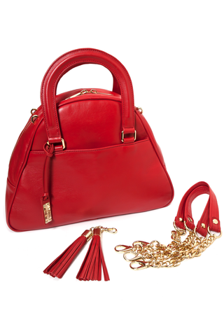 Red Smooth Leather 'Marissa' Small Tote Handbag | Mel Boteri | Detachable Details