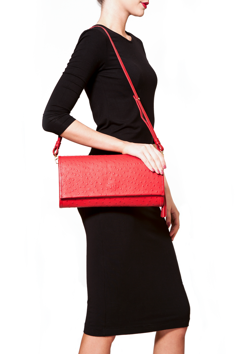 'Cara' Envelope Clutch in Red Ostrich Print Leather | Mel Boteri | Shoulder Strap On Model
