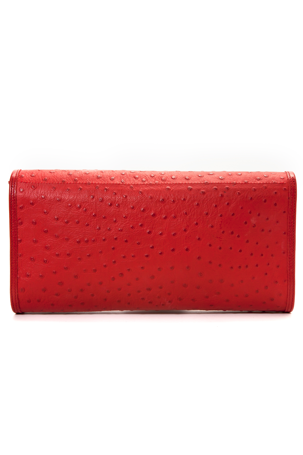 'Cara' Envelope Clutch in Red Ostrich Print Leather | Mel Boteri | Back View