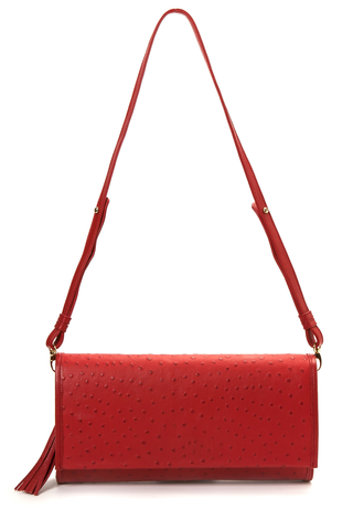 'Cara' Envelope Clutch in Red Ostrich Print Leather | Mel Boteri | Strap View