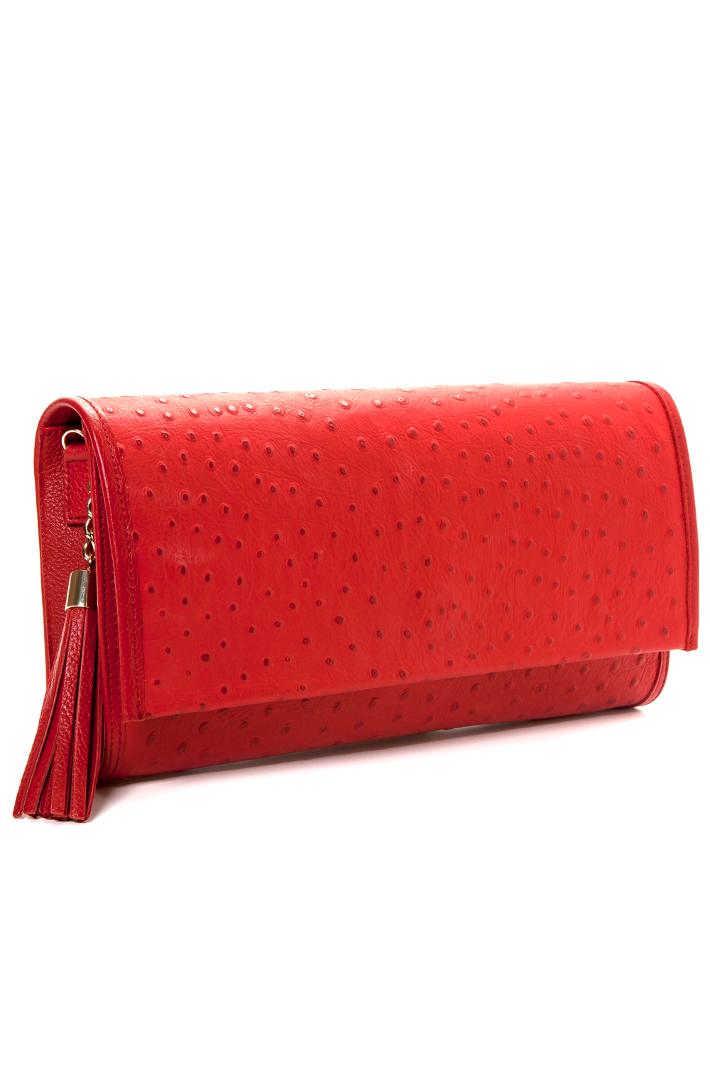 'Cara' Envelope Clutch in Red Ostrich Print Leather | Mel Boteri | Side View