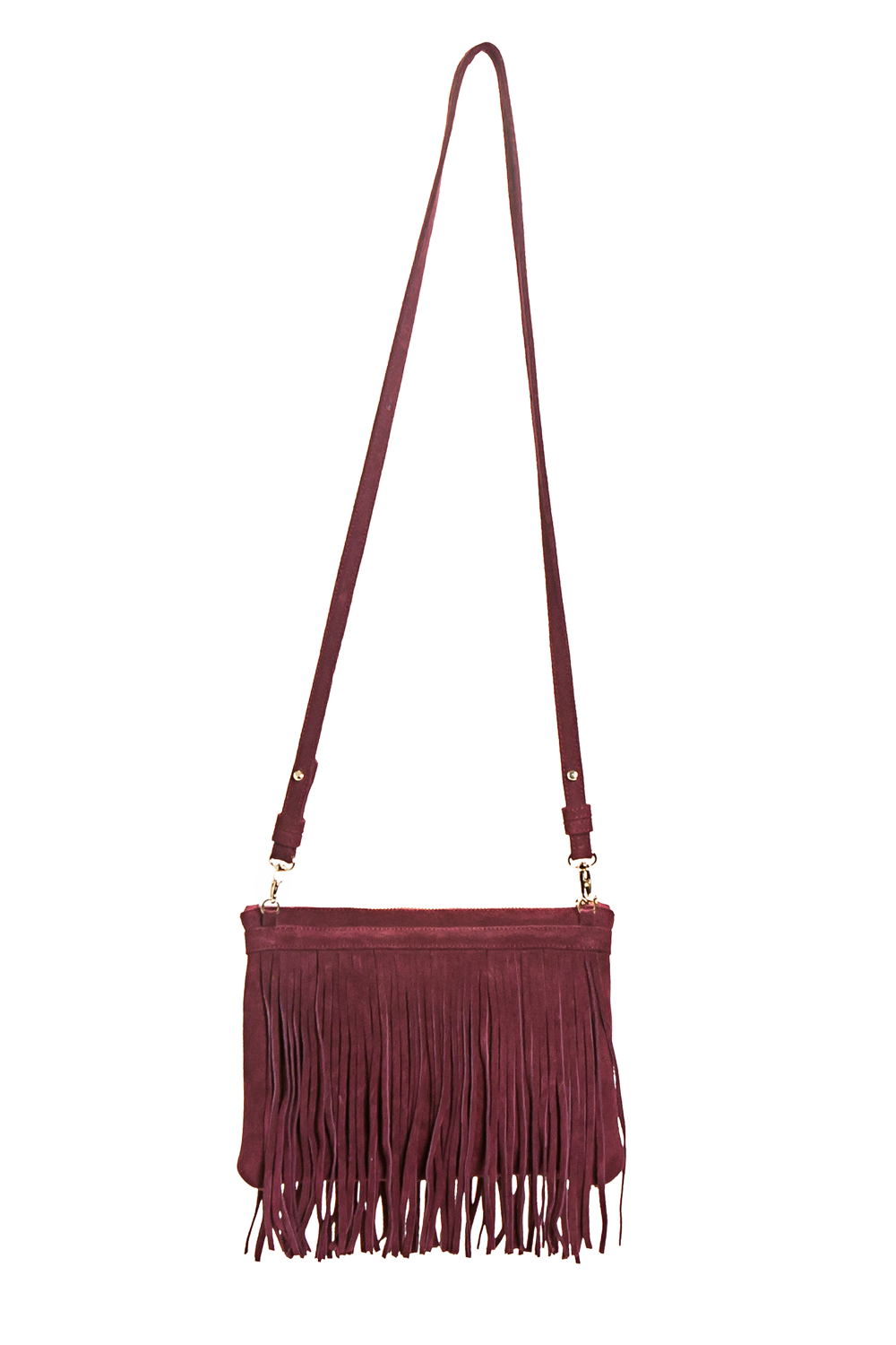 Mel Boteri | 'Mini Taylea' Burgundy Suede Fringed Bag | Back View