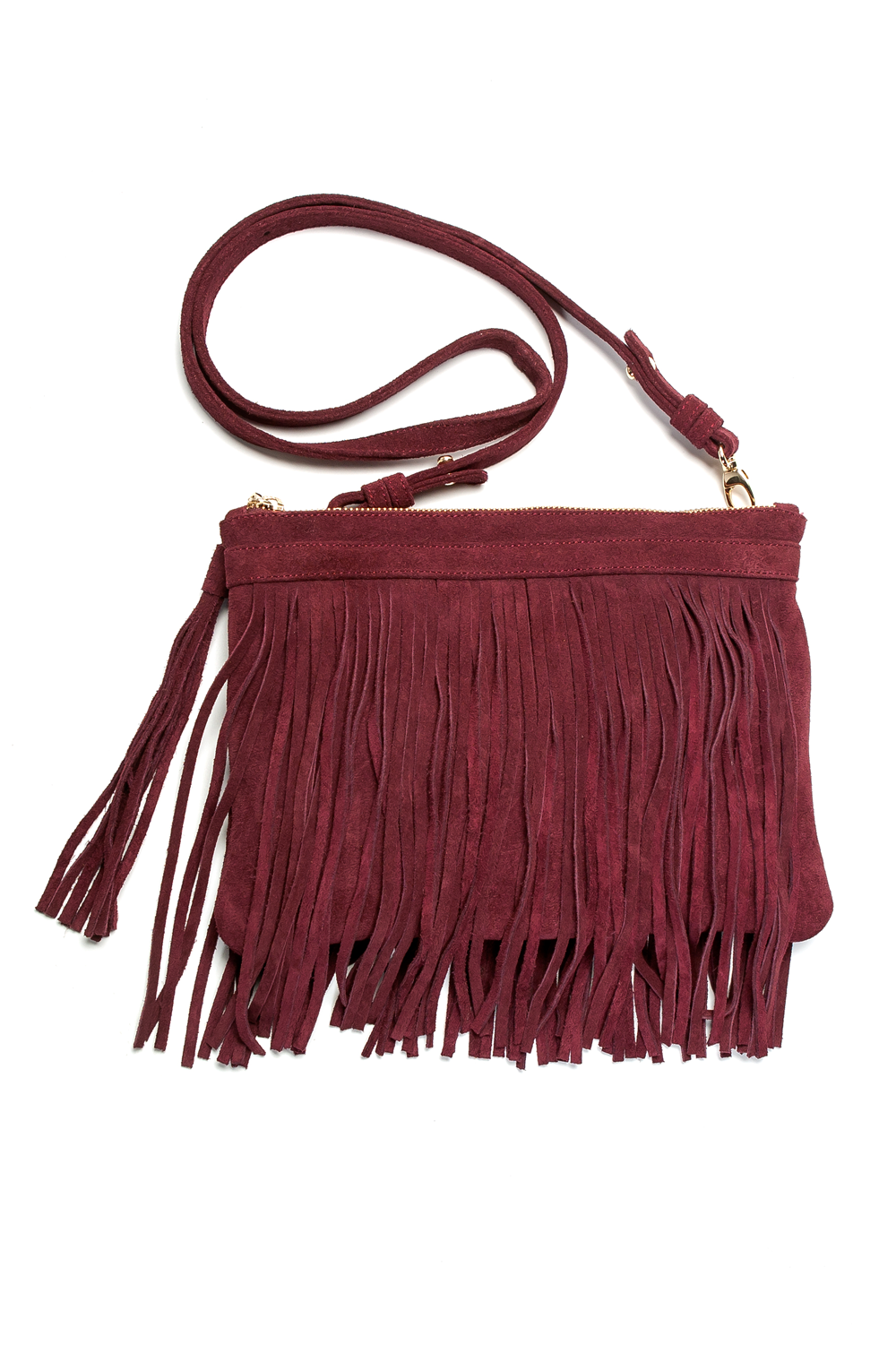 Mel Boteri | 'Mini Taylea' Burgundy Suede Fringed Bag | Detail View