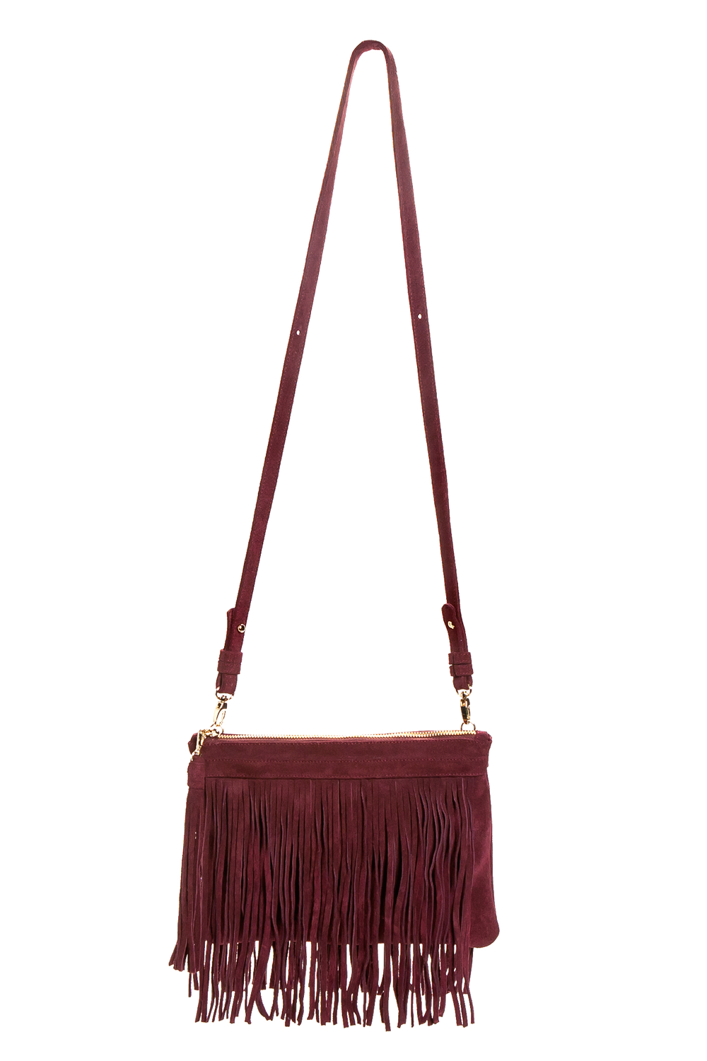 Mel Boteri | 'Mini Taylea' Burgundy Suede Fringed Bag | Front View