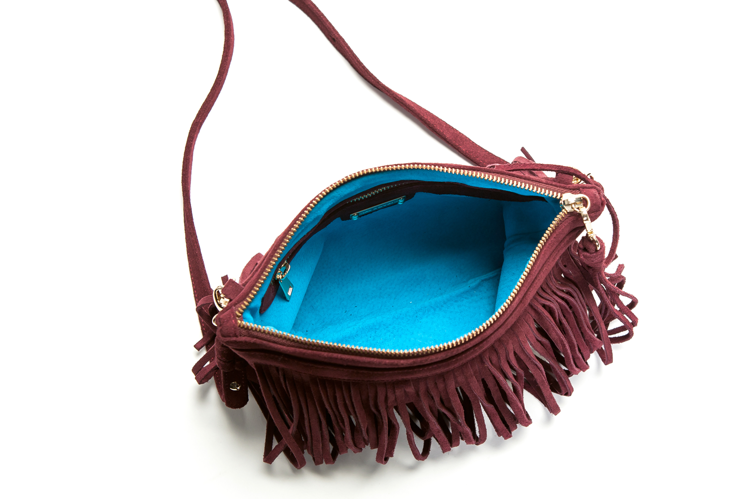 Mel Boteri | 'Mini Taylea' Burgundy Suede Fringed Bag | Interior View