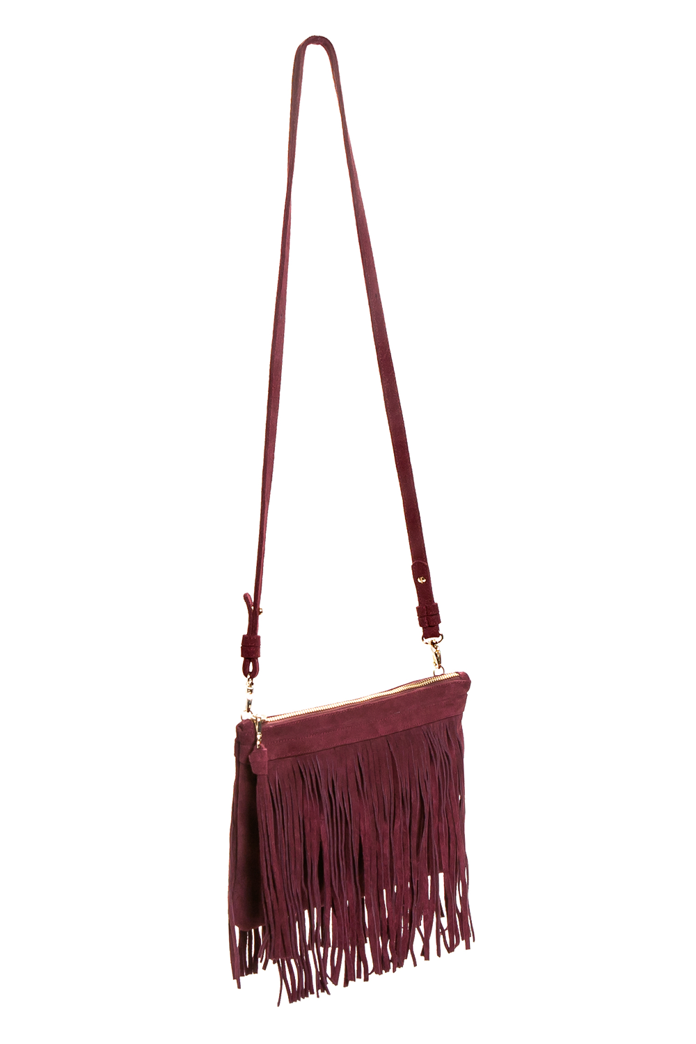 Mel Boteri | 'Mini Taylea' Burgundy Suede Fringed Bag | Side View