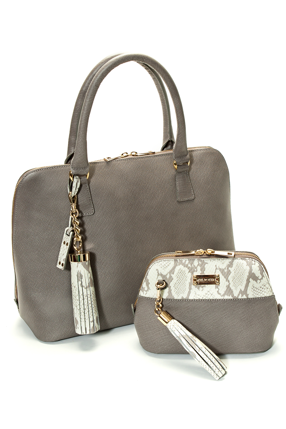 Mel Boteri 'Watson' Tote in Grey Saffiano Leather | With the Watson Mini