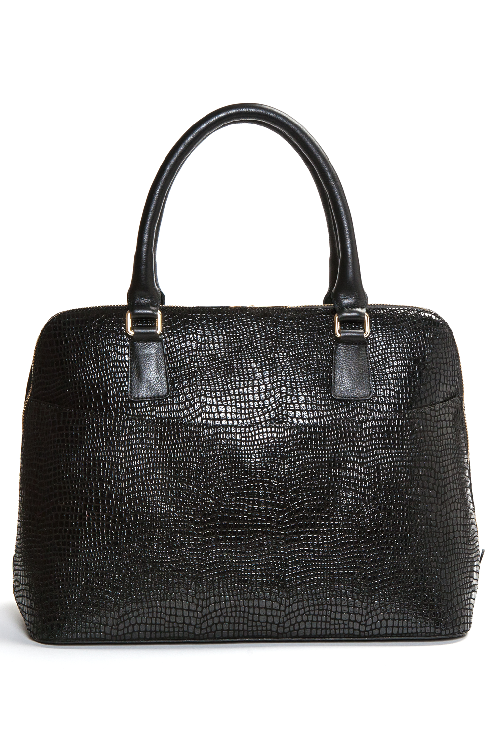 Mel Boteri | High Gloss, Black Lizard-Print Leather 'Watson' Tote | Back