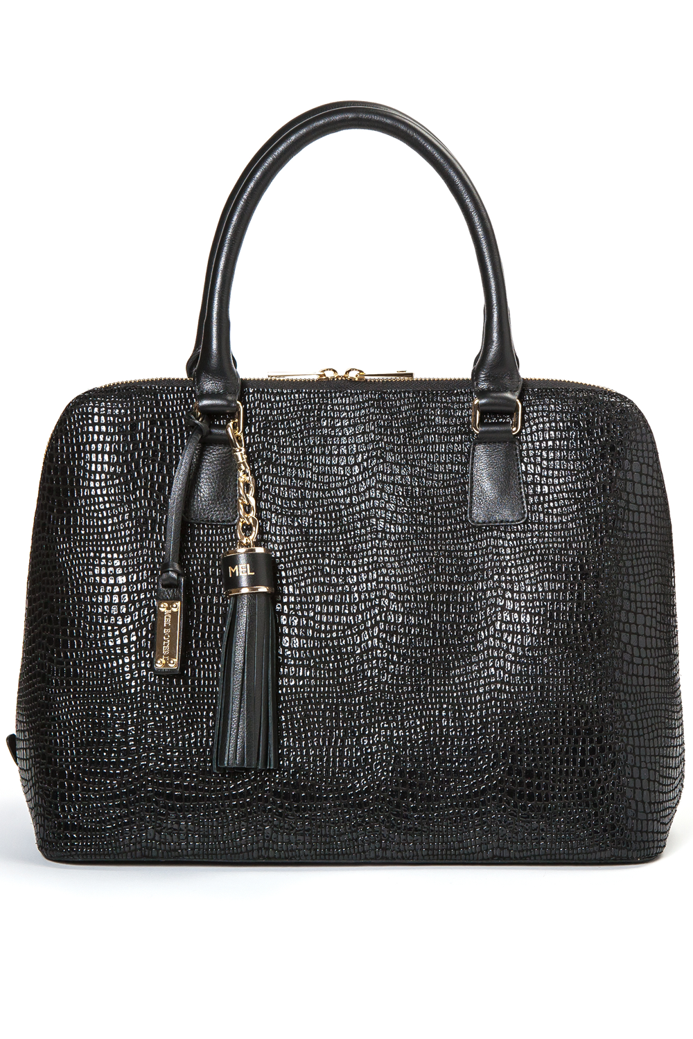 Mel Boteri | High Gloss, Black Lizard-Print Leather 'Watson' Tote | Front View