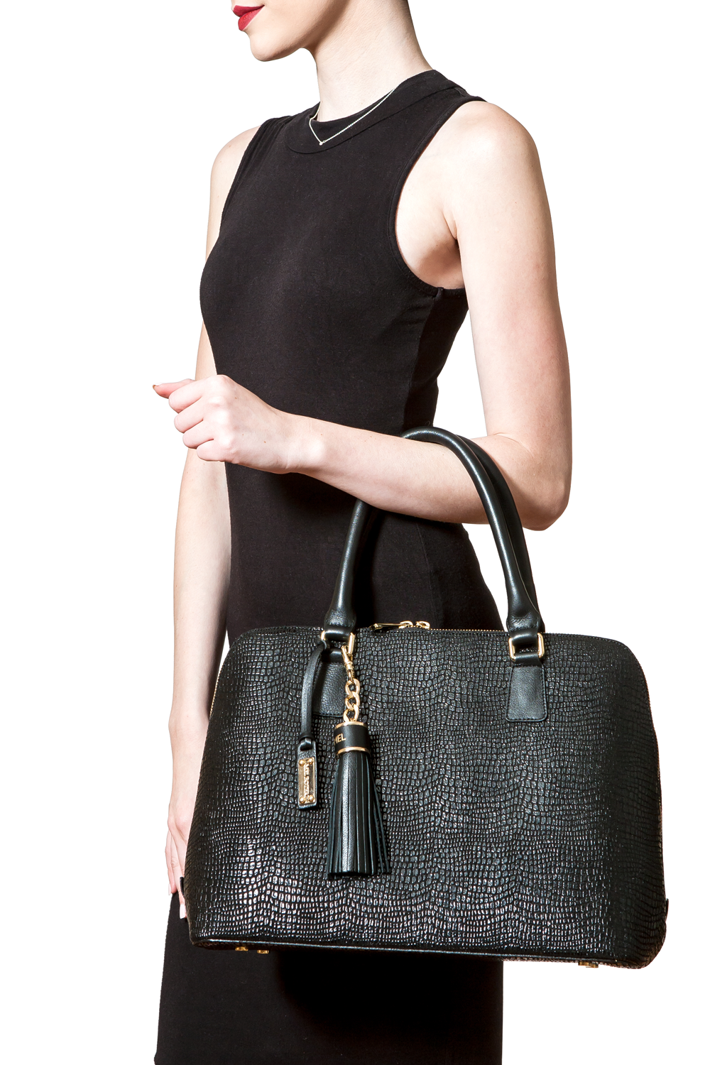 Mel Boteri | High Gloss, Black Lizard-Print Leather 'Watson' Tote | Model View