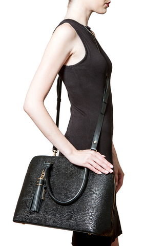 Mel Boteri | High Gloss, Black Lizard-Print Leather 'Watson' Tote | Cross-Body View