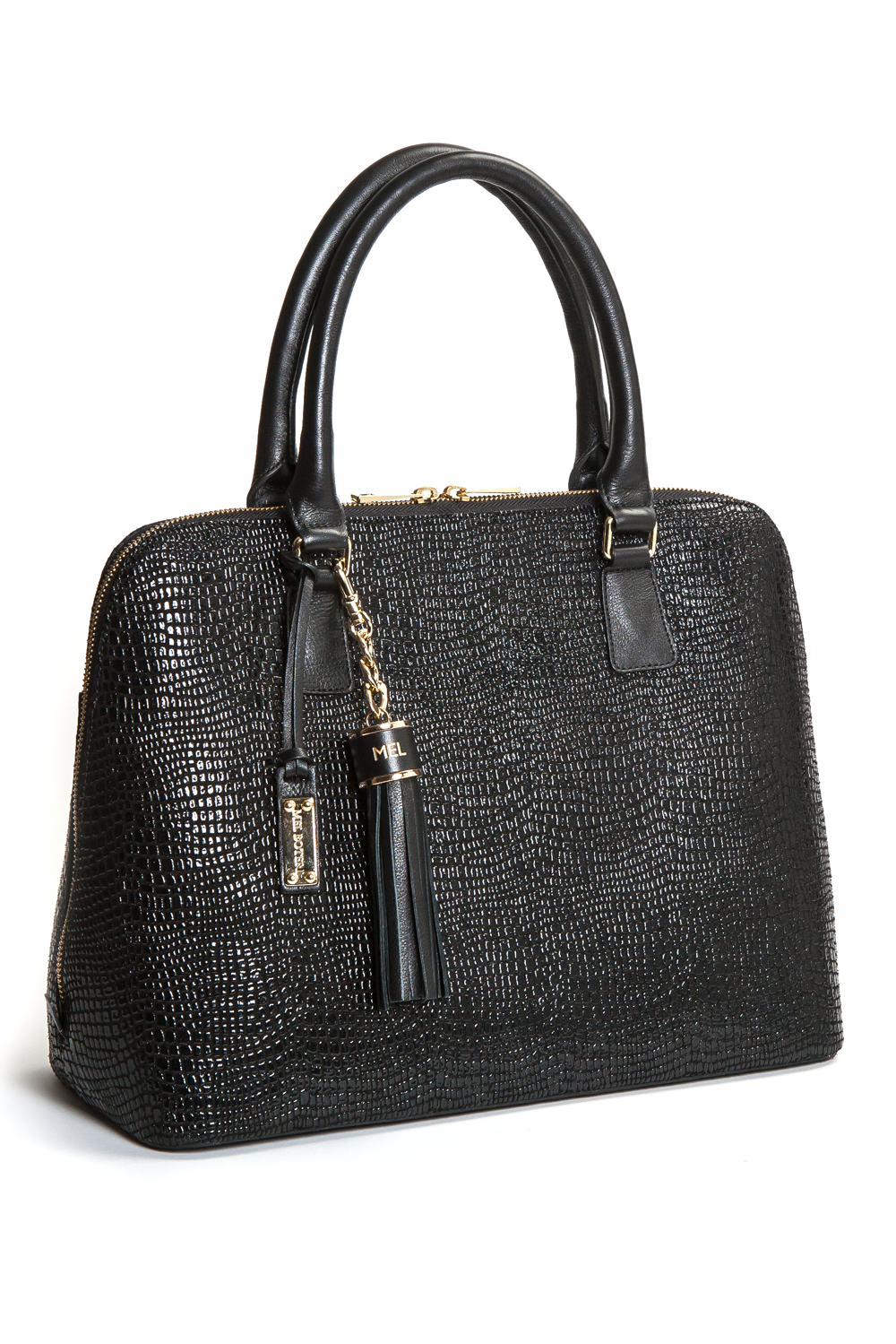 Mel Boteri | High Gloss, Black Lizard-Print Leather 'Watson' Tote | Side View