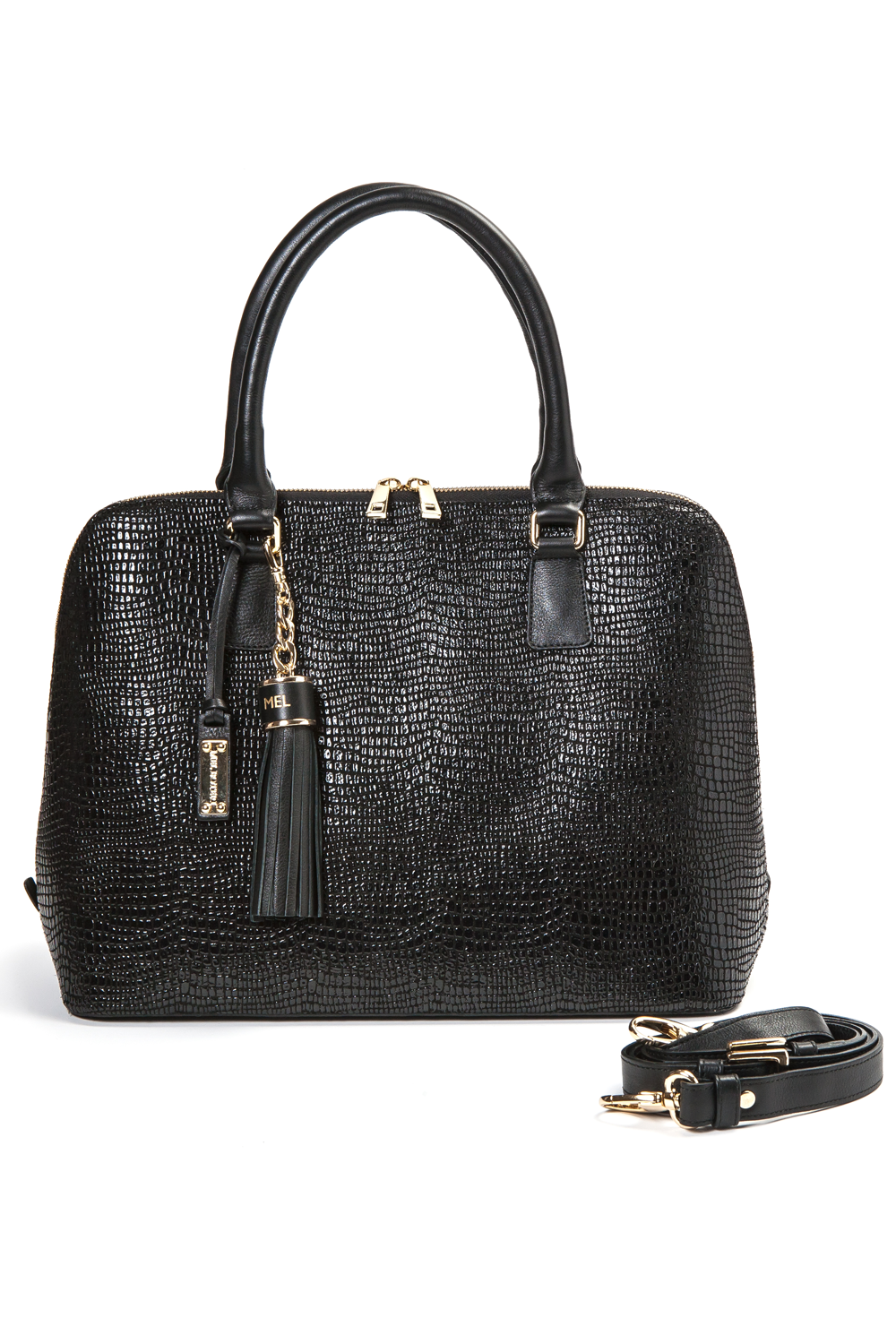 Mel Boteri | High Gloss, Black Lizard-Print Leather 'Watson' Tote | With Strap View