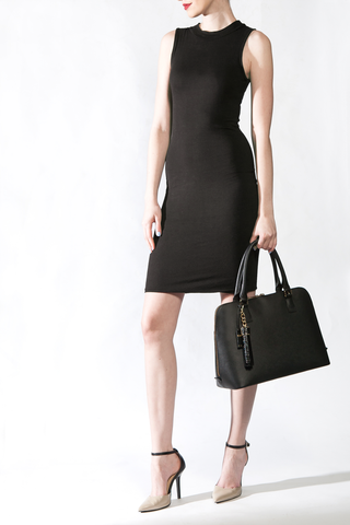 Mel Boteri Black Saffiano Leather 'Watson' Tote | Model View