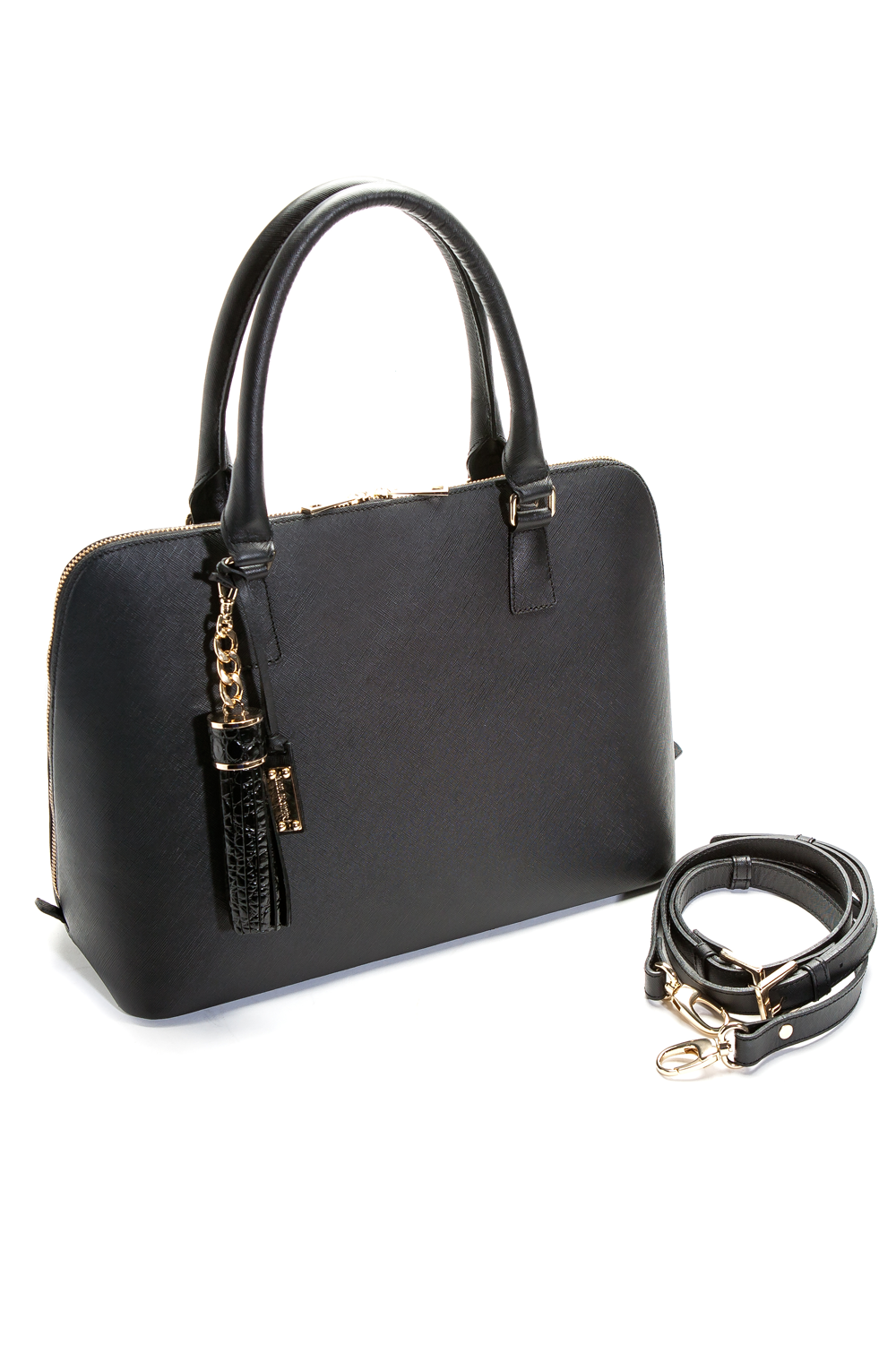 Mel Boteri Black Saffiano Leather 'Watson' Tote | Side View