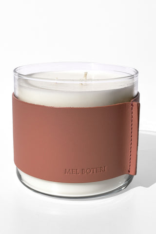 White Tea & Ginger Scented Candle | Mel Boteri Home Collection | Leather Wrapped Candle