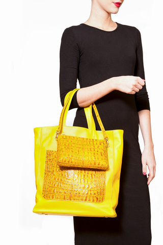 Marigold Yellow 'Stuart' Carryall Tote | Mel Boteri | Duo Model View