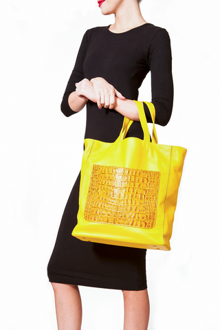 Marigold Yellow 'Stuart' Carryall Tote | Mel Boteri | Model View