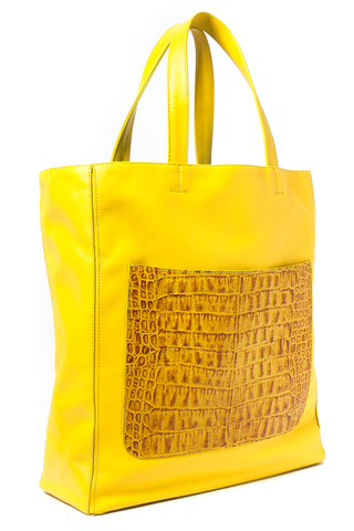 Marigold Yellow 'Stuart' Carryall Tote | Mel Boteri | Side View