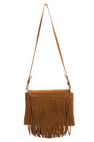 Mel Boteri | Tan Suede Leather 'Taylea' Fringed Handbag | Back View