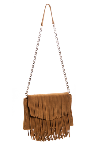 Mel Boteri | Tan Suede Leather 'Taylea' Fringed Handbag | Chain View
