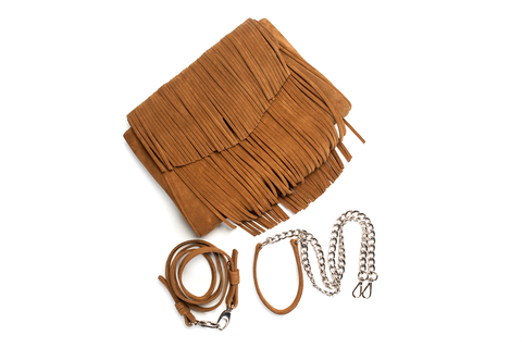 Mel Boteri | Tan Suede Leather 'Taylea' Fringed Handbag | Detail View
