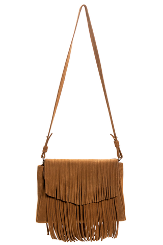 Mel Boteri | Tan Suede Leather 'Taylea' Fringed Handbag | Front View