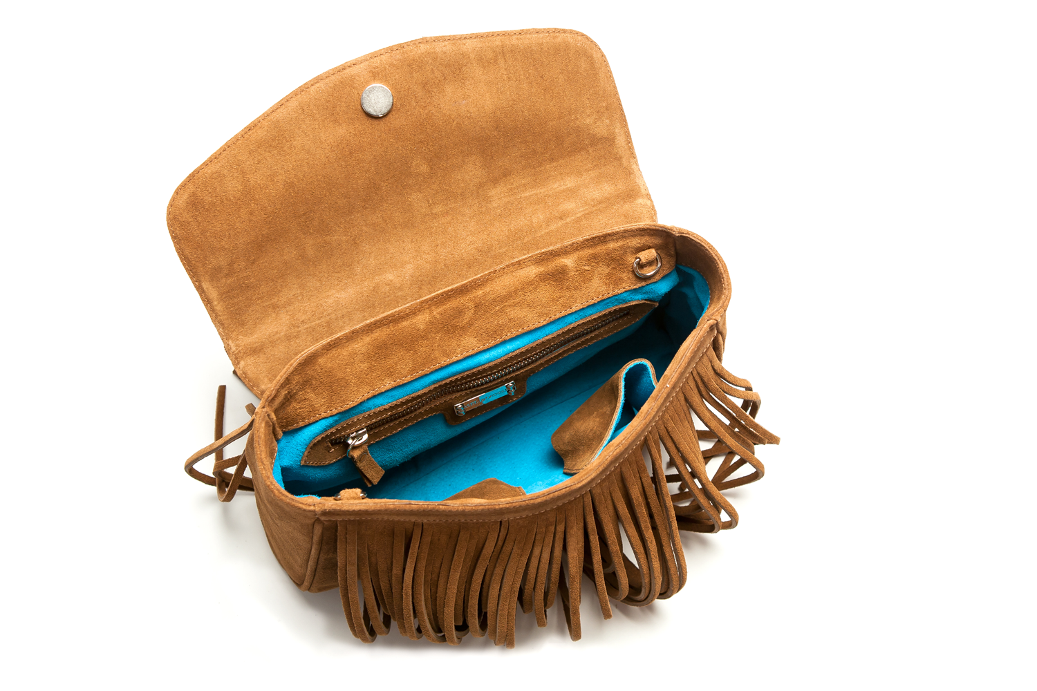 Mel Boteri | Tan Suede Leather 'Taylea' Fringed Handbag | Interior View