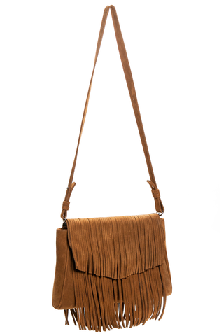 Mel Boteri | Tan Suede Leather 'Taylea' Fringed Handbag | Side View