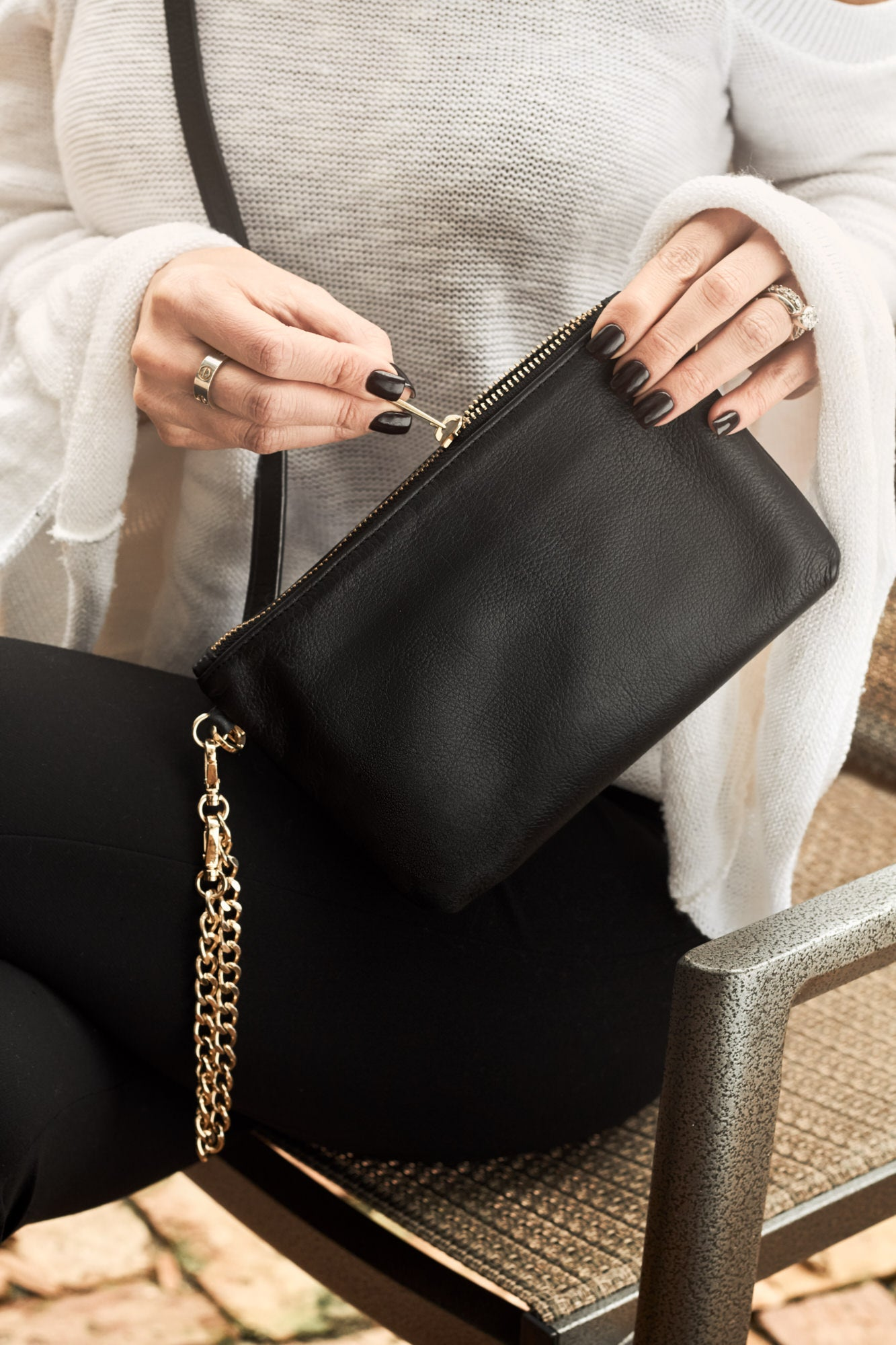 Mel Boteri | Black Leather 'Kat' Pouch | Wristlet and Cross-Body