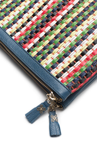 Mel Boteri | Multicolor Raffia and Denim Leather 'Abbey' Clutch | Detail View