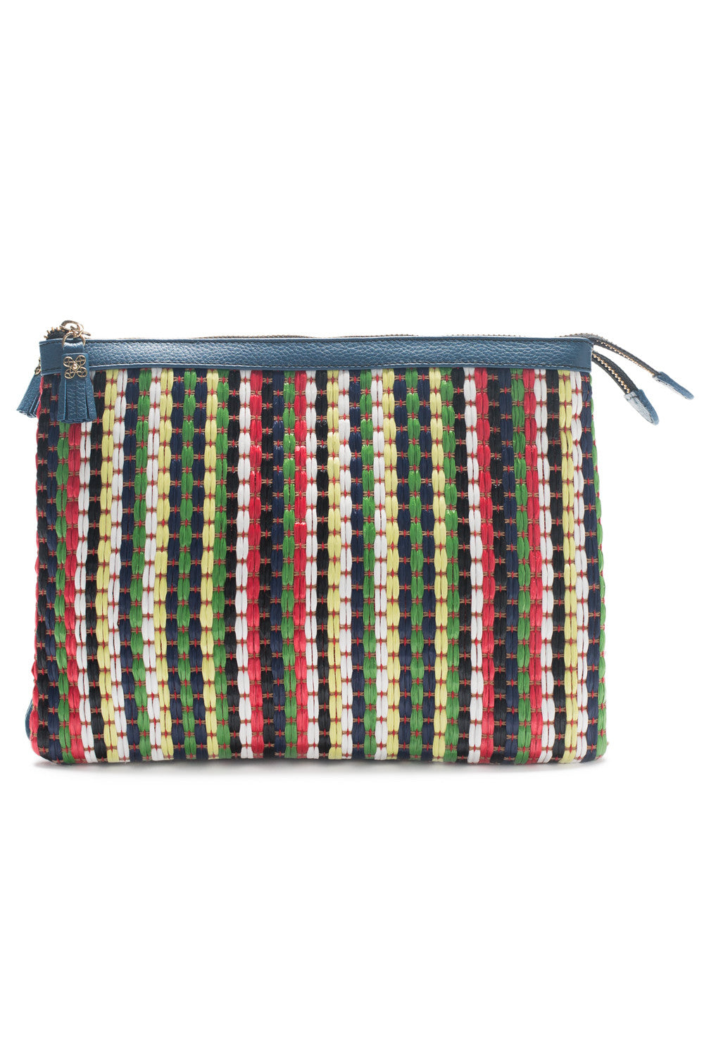 Mel Boteri | Multicolor Raffia and Denim Leather 'Abbey' Clutch | Front View